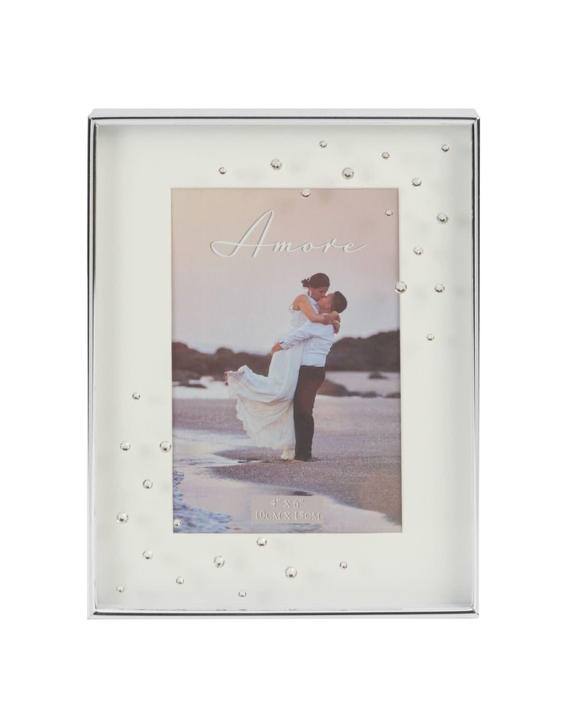 "Amore Silverplated Frame with Crystals 4"" x 6"""