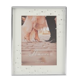 "Amore Silverplated Frame with Crystals 5"" x 7"""