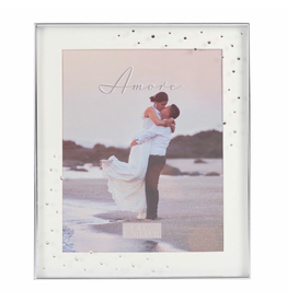 "Amore Silverplated Frame with Crystals 8"" x 10"""