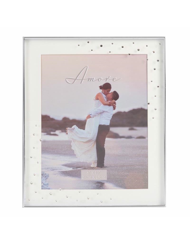 """Amore Silverplated Frame with Crystals 8"""" x 10"""""""