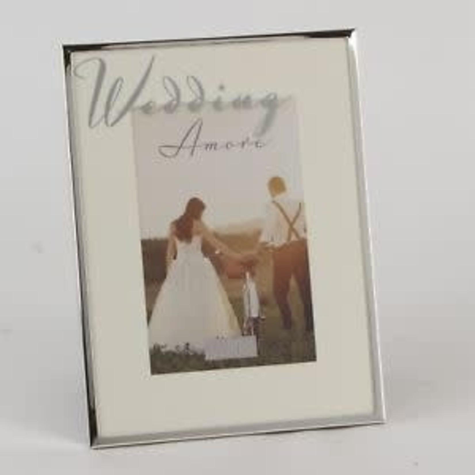 "Amore Silver Plated Frame Mirror Script 4"" x 6"" Wedding"