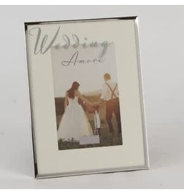 "Amore Silver Plated Frame Mirror Script 4"" x 6"" Wedding"