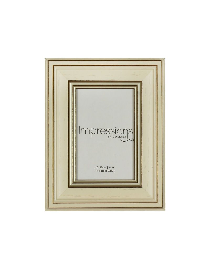 "Impressions Plastic Cream Wood Effect Photo Frame 4"" x 6"" (24)"