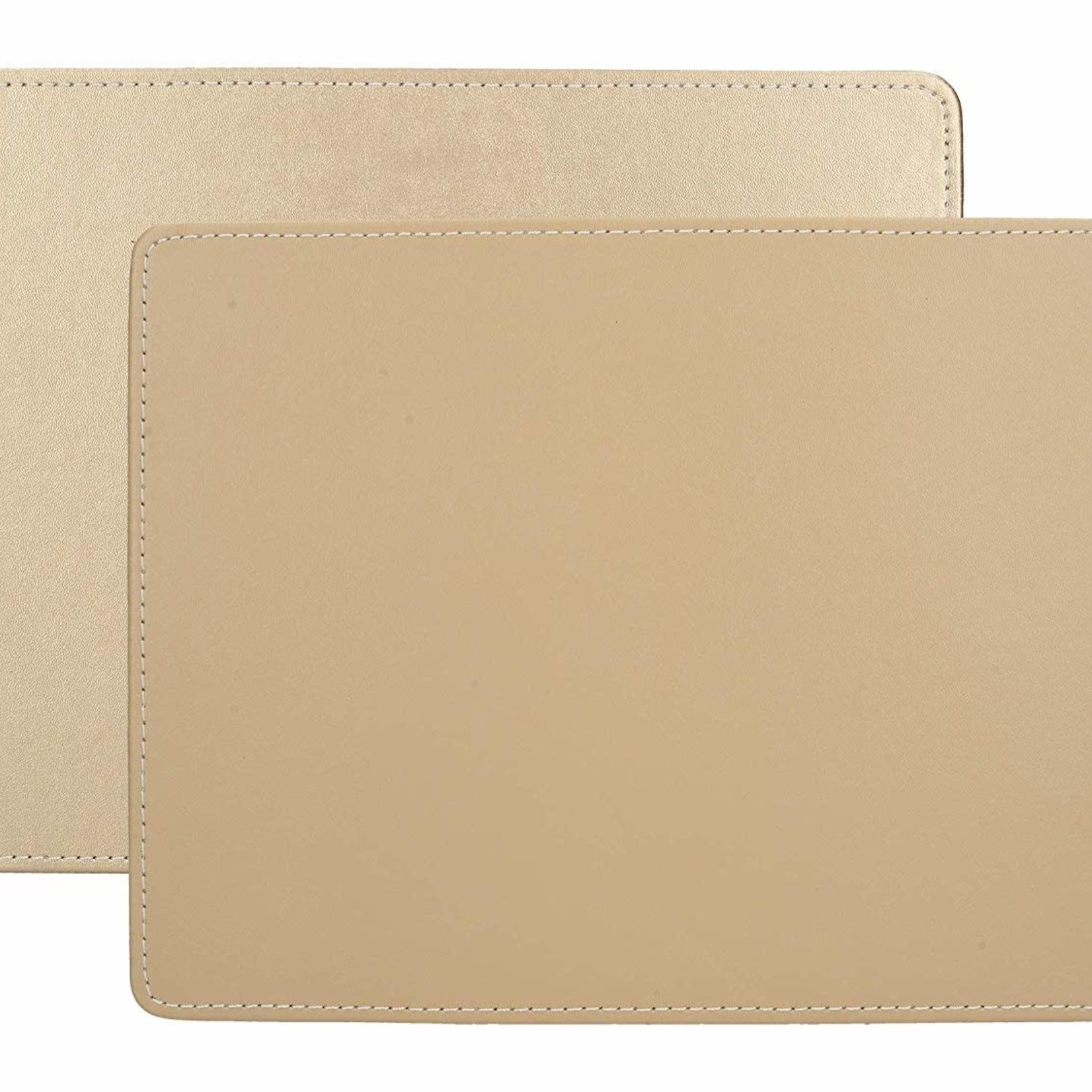 Kitchen Craft CREATIVE TOPS PREMIUM STITCHED FAUX LEATHER PACK 4 MATS METALLIC GOLD