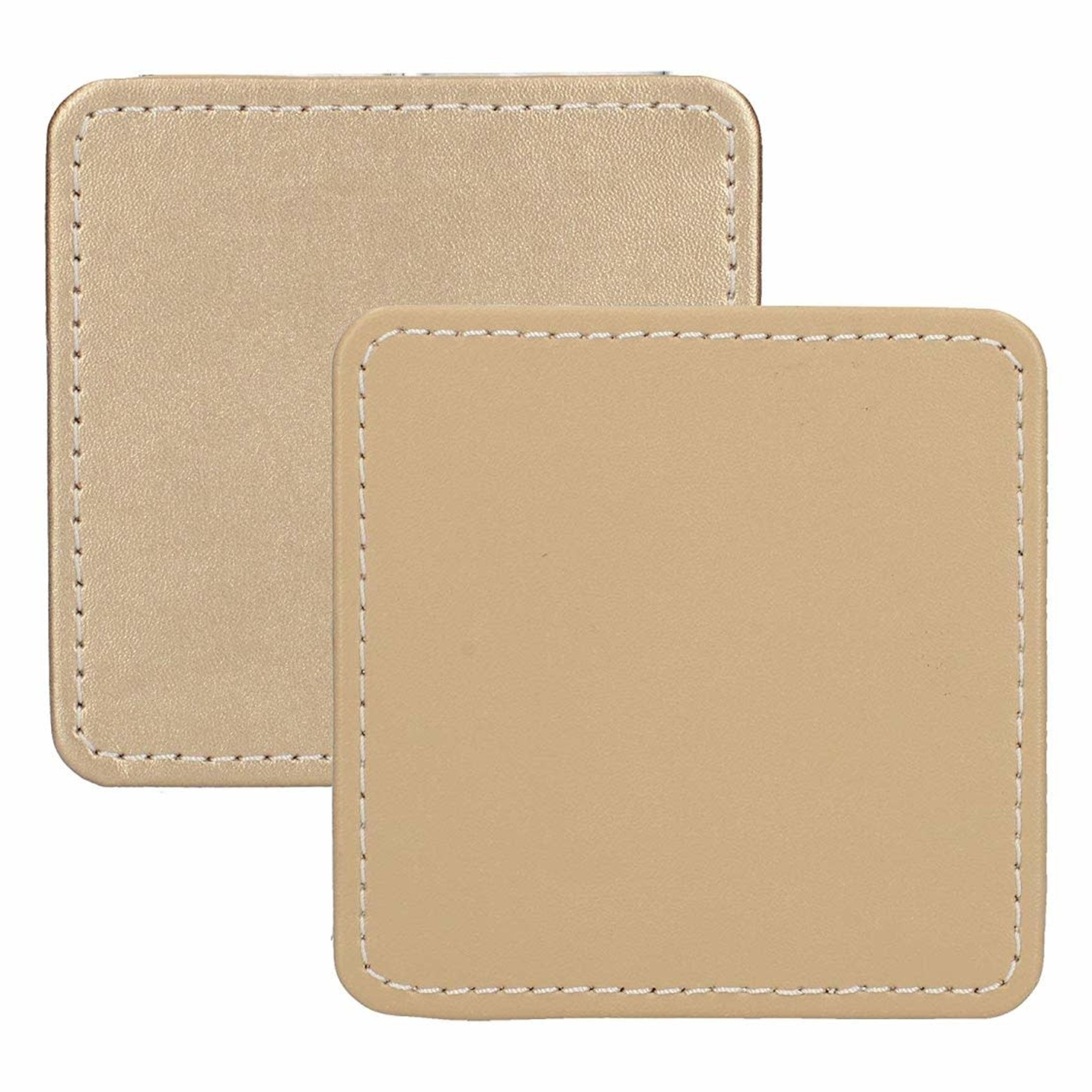 Kitchen Craft CREATIVE TOPS PREMIUM STITCHED FAUX LEATHER PACK 4 COASTERS METALLIC GOLD