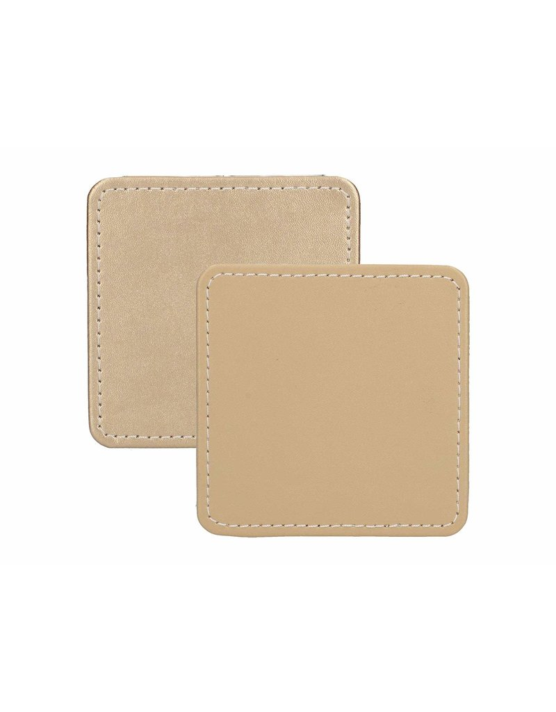 CREATIVE TOPS PREMIUM STITCHED FAUX LEATHER PACK 4 COASTERS METALLIC GOLD