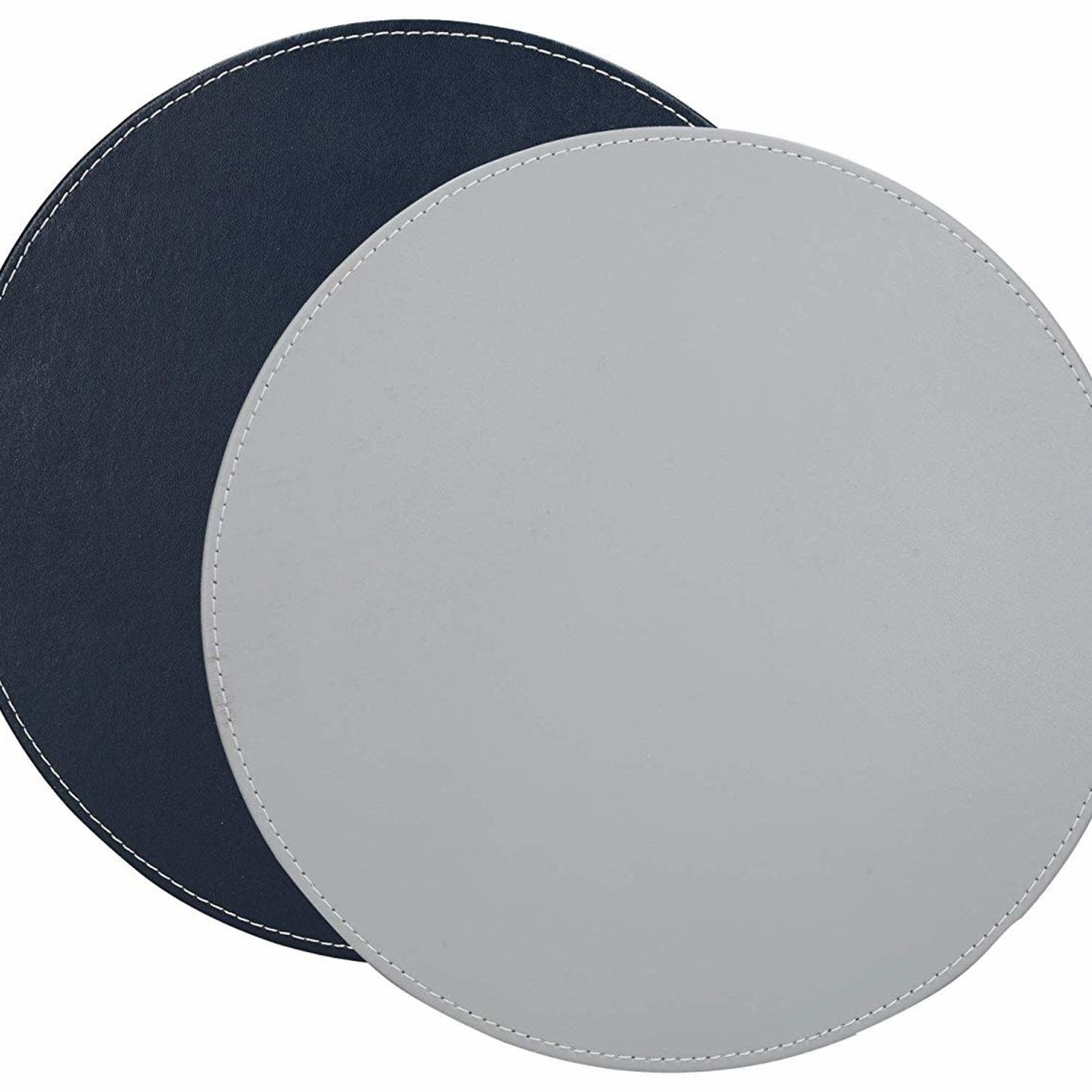 Kitchen Craft CREATIVE TOPS PREMIUM ROUND FAUX LEATHER PACK OF 4 MATS GREY