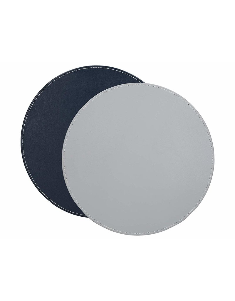 CREATIVE TOPS PREMIUM ROUND FAUX LEATHER PACK OF 4 MATS GREY