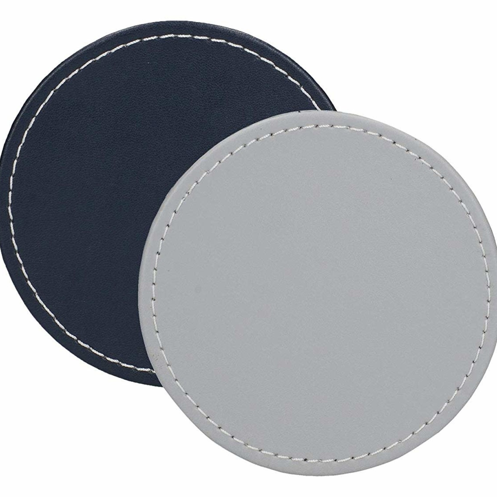 Kitchen Craft CREATIVE TOPS PREMIUM ROUND FAUX LEATHER PACK 4 COASTERS GREY