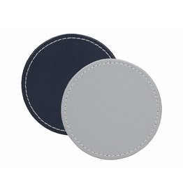 Creative Tops CREATIVE TOPS PREMIUM ROUND FAUX LEATHER PACK 4 COASTERS GREY