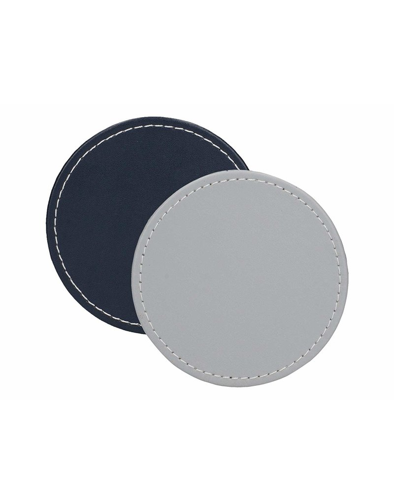 CREATIVE TOPS PREMIUM ROUND FAUX LEATHER PACK 4 COASTERS GREY