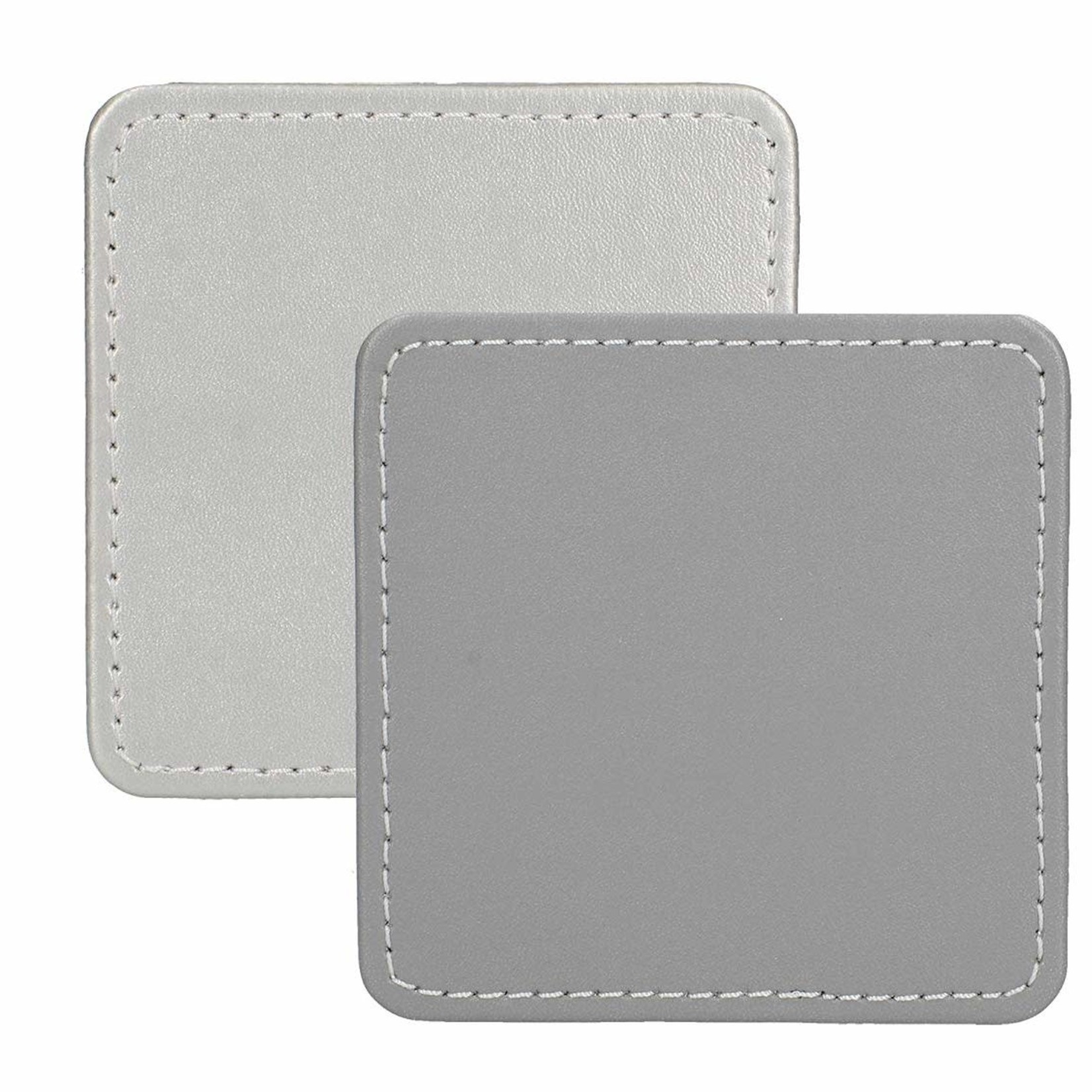 Kitchen Craft CREATIVE TOPS PREMIUM FAUX LEATHER PACK 4 COASTERS METALLIC SILVER