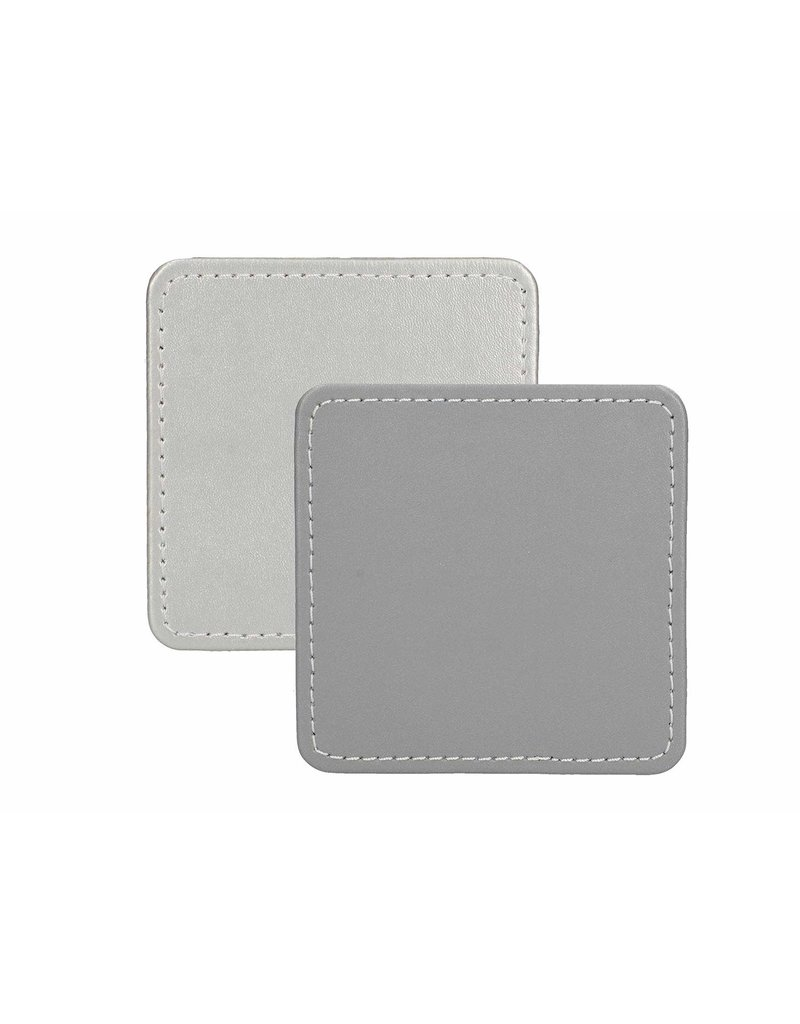 CREATIVE TOPS PREMIUM FAUX LEATHER PACK 4 COASTERS METALLIC SILVER