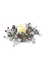 Premier 30CM Frosted Leaves Wreath Green White