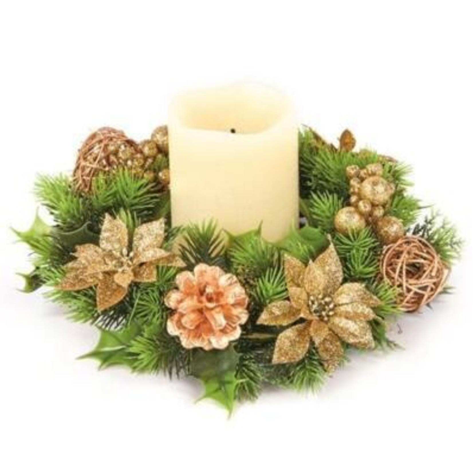 Premier 30CM Poinsettia Candle Wreath Gold