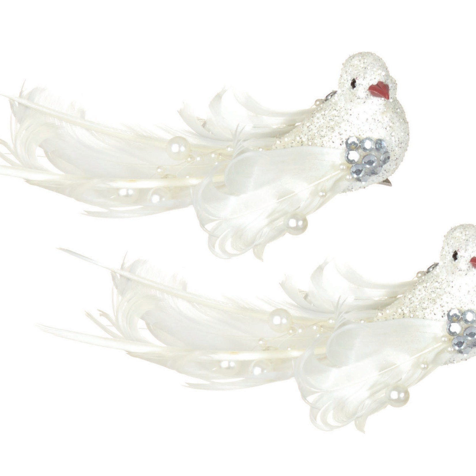 16cm 2pcs White Feather Bird w Beads Clip on Backing Card