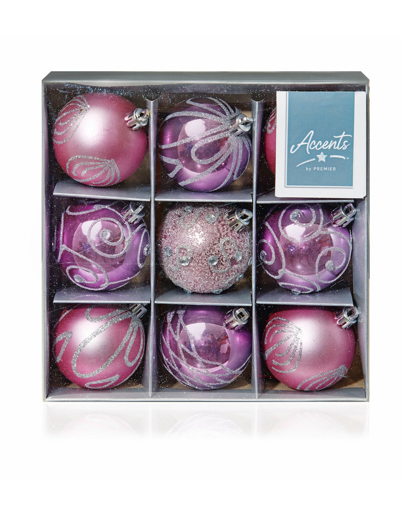 9 x 60mm Pink Decorated Balls