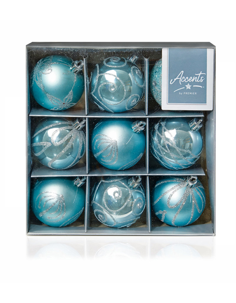 9 x 60mm Ice Blue Decorated Balls