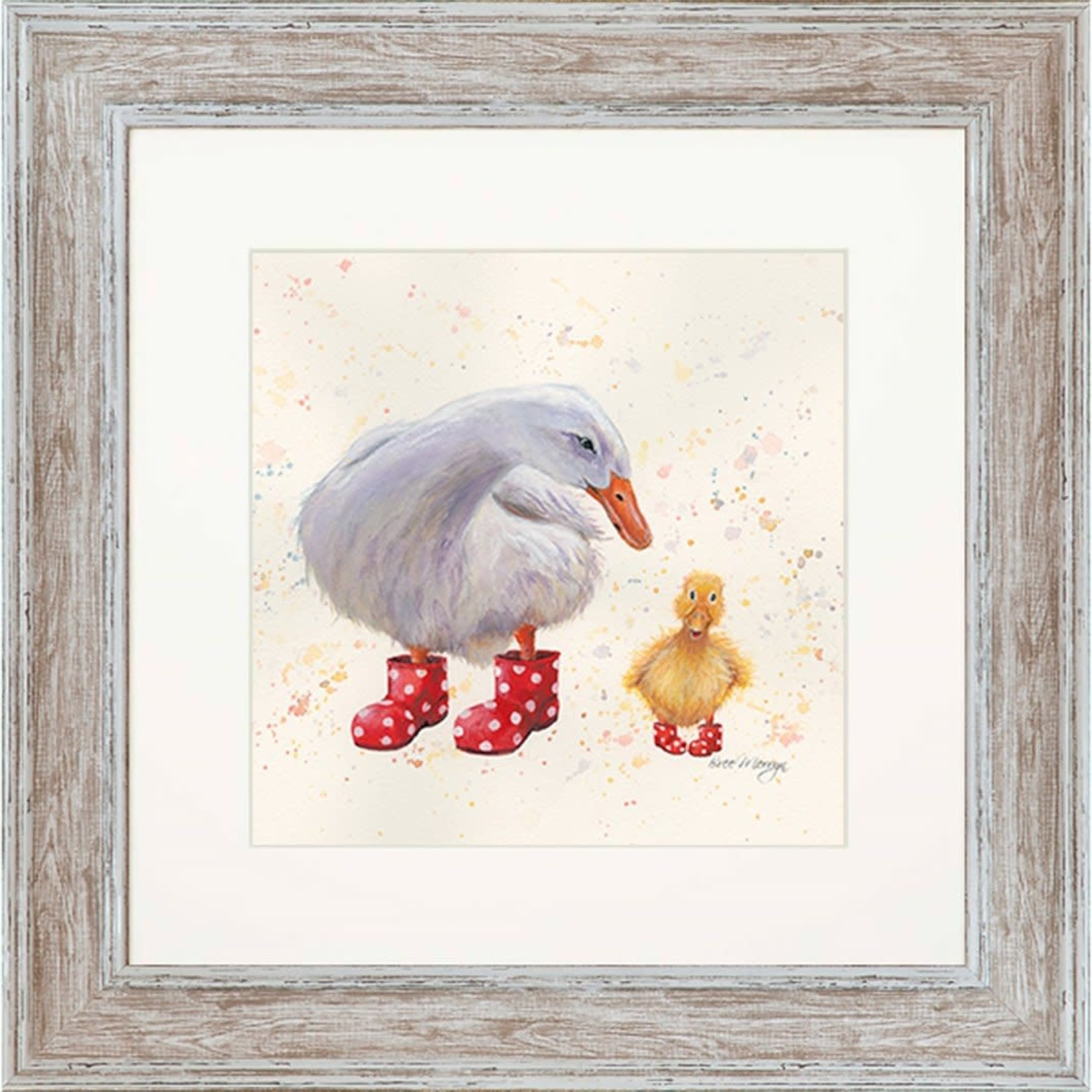 Bree Merryn Darcey and Daffodil in Boots Print and Mount Distressed Wood Effect Frame 48cm