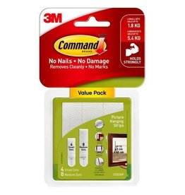 3M Command COMMAND 17203 PICTURE HANGING STRIPS VALUE PACK 8 MEDIUM 4 SMALL