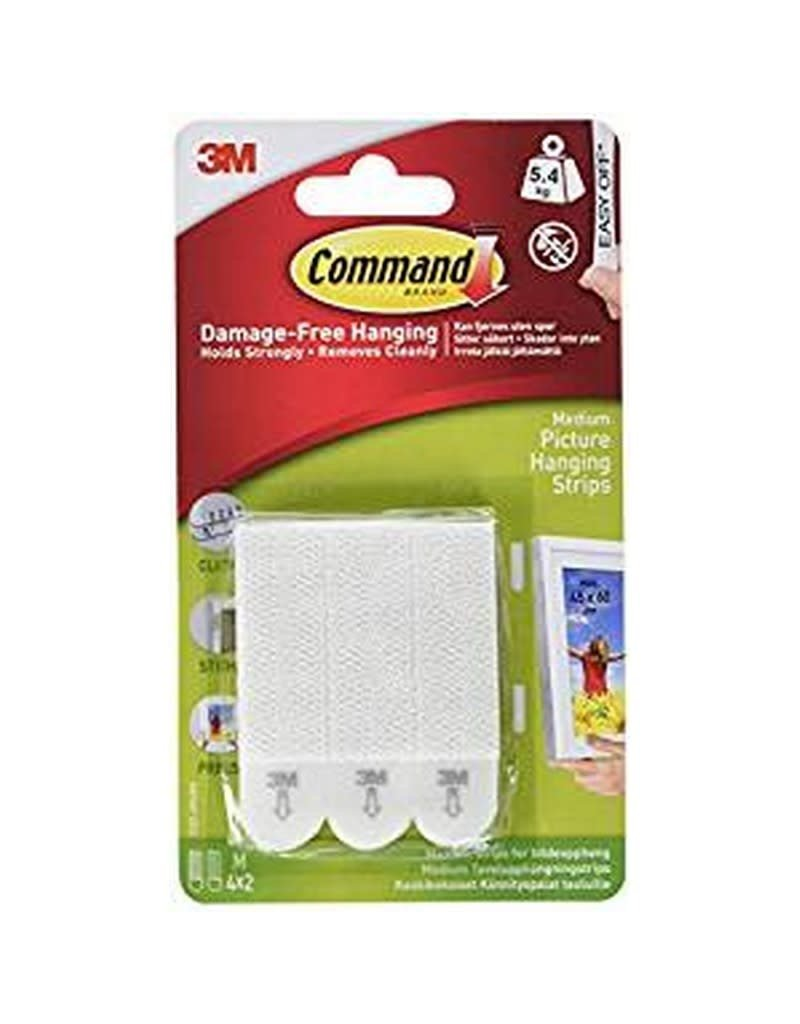 3M Command COMMAND MEDIUM PICTURE HANGING STRIPS WHITE 4 PACK 12LB 5.4KG