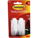 3M Command COMMAND 17081 MEDIUM DESIGNER CLOTHES PICTURE HOOKS 2 PACK WHITE 3LB 1KG