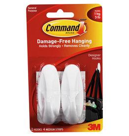 3M Command COMMAND 17081 MEDIUM DESIGNER CLOTHES PICTURE HOOKS 2 PACK WHITE 3LB 1KG