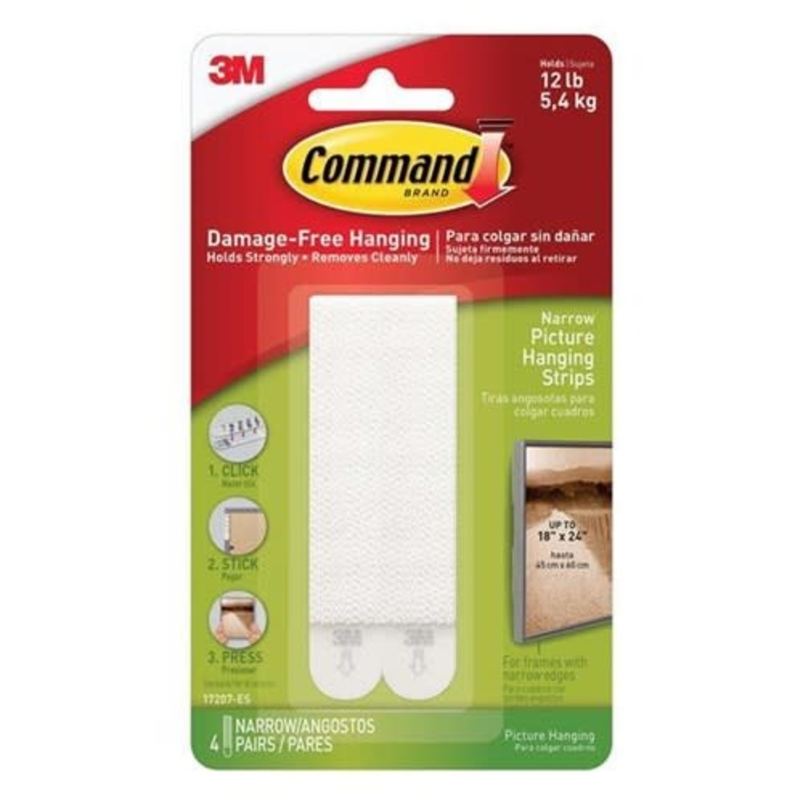 3M Command COMMAND NARROW PICTURE HANGING STRIPS WHITE 4 PACK 12LB 5.4KG