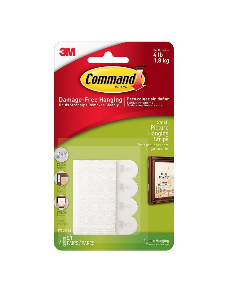 3M Command COMMAND SMALL PICTURE HANGING STRIPS WHITE 4 PACK 1.8KG