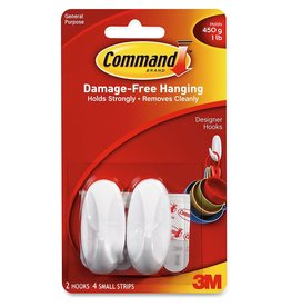 3M Command COMMAND SMALL WHITE DESIGNER PICTURE HOOKS 2 PACK 450G 1LB