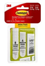 3M Command COMMAND PICTURE HANGING STRIPS WHITE MULTI-PACK 5.4KG & 7.2KG