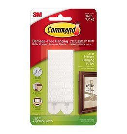 3M Command COMMAND 12706 LARGE PICTURE HANGING STRIPS 4X2 PACK WHITE 7.2 KG