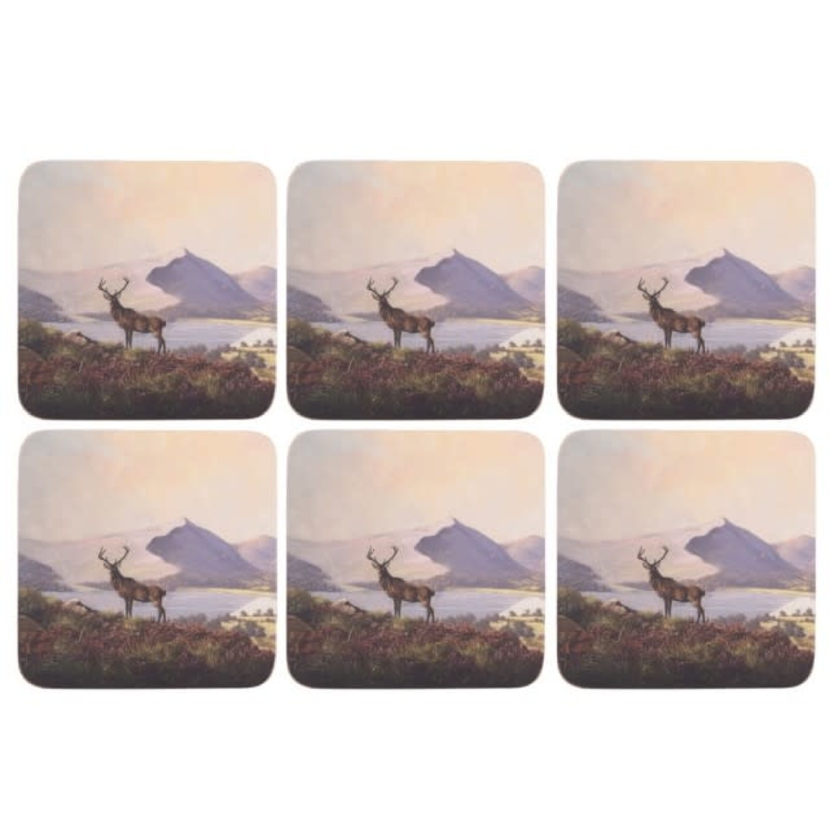 Kitchen Craft CREATIVE TOPS HIGHLAND STAG PACK OF 6 PREMIUM COASTERS