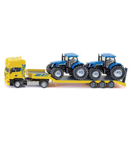 Siku Siku Scania Truck With Low Loader & 2 New Holland Tractors 1:50