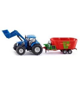 Siku 1:50 NEW HOLLAND WITH FRONT LOADER & FODDER MIXER
