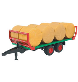 Bruder BRUDER LOW LOADER TRAILER WITH 4 ROUND BALES