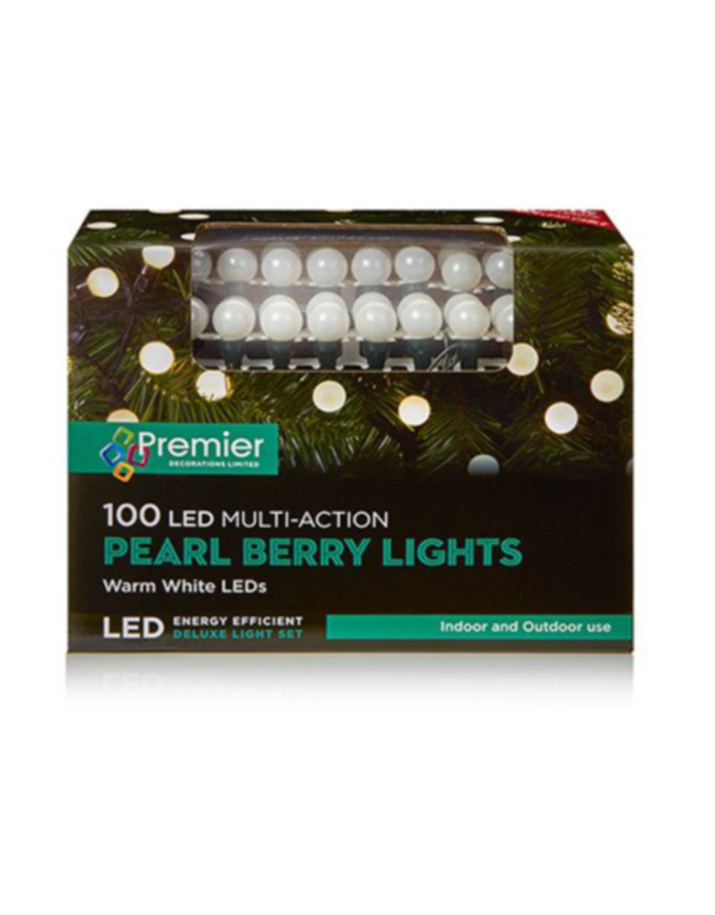 100 M-A White Pearl Berry Lights Warm White Leds