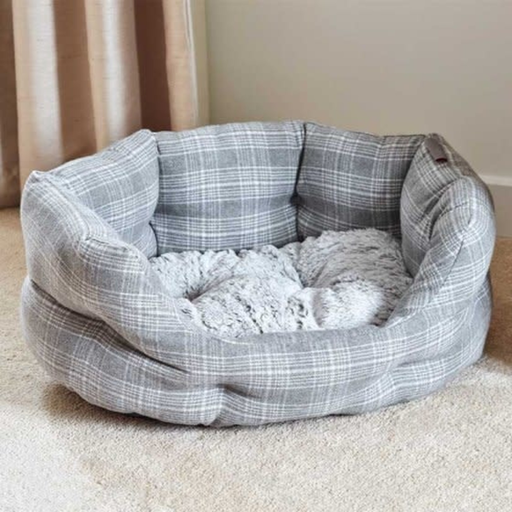 Zoon GREY PLAID M OVAL BED