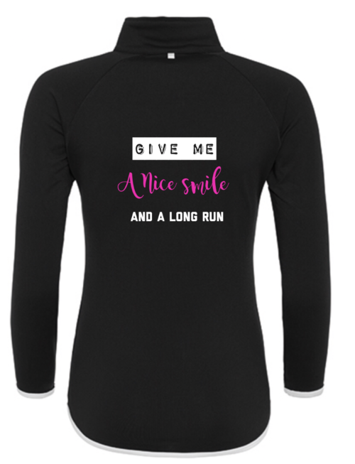 WARRIOR WOMEN Shirt: Give me a nice smile and a long run, lange mouw