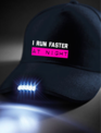 WARRIOR WOMEN Pet met tekst: I run faster at night met verlichting
