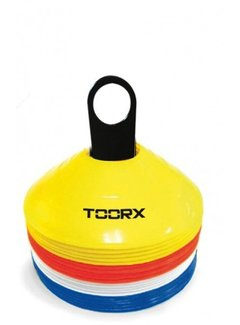 Toorx Fitness Toorx Agility Cones Set van 24 stuks - met rek - Geel/Rood/Wit/Blauw