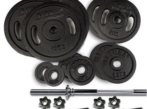 Hammer Fitness Hammer 73 kg SET Halterschijven Gietijzer en halterstangen