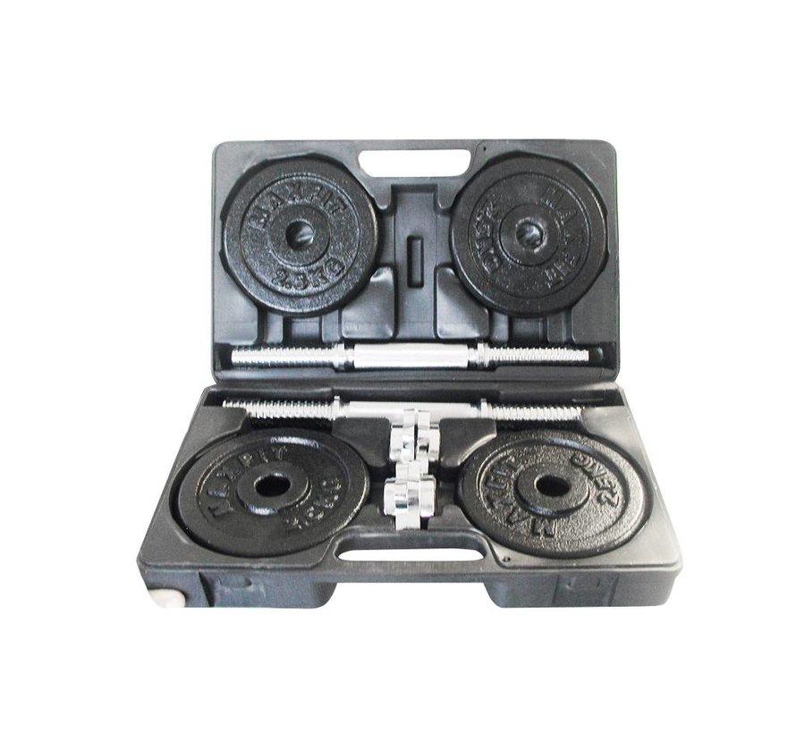 Toorx Fitness - Dumbbellset 20 kg - gietijzer - met Koffer