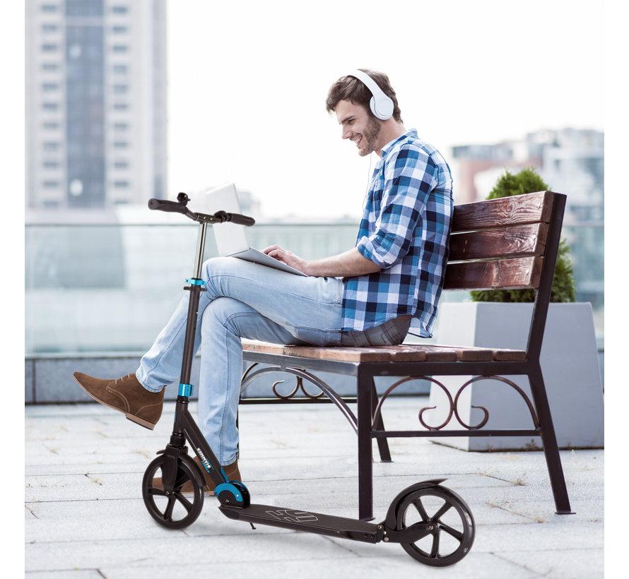 Hammer Street Scooter RX7 - Voor Volwassenen - Inklapbaar - Zwart/Blauw - met LED verlichting - 110 cm