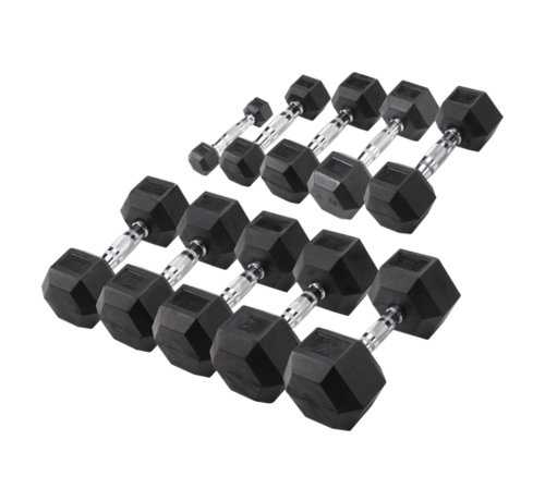 Body-Solid Body-Solid Hexa Rubber Dumbbell Set 1 -10 kg + opbergrek
