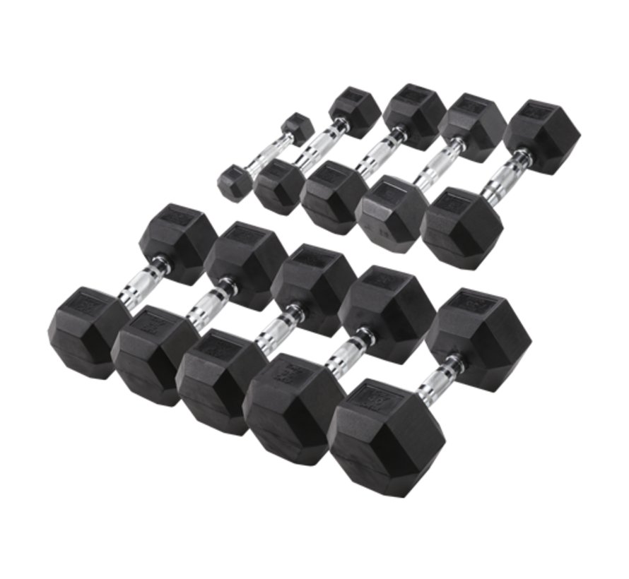 Body-Solid Hexa Rubber Dumbbell Set 1 -10 kg + rack