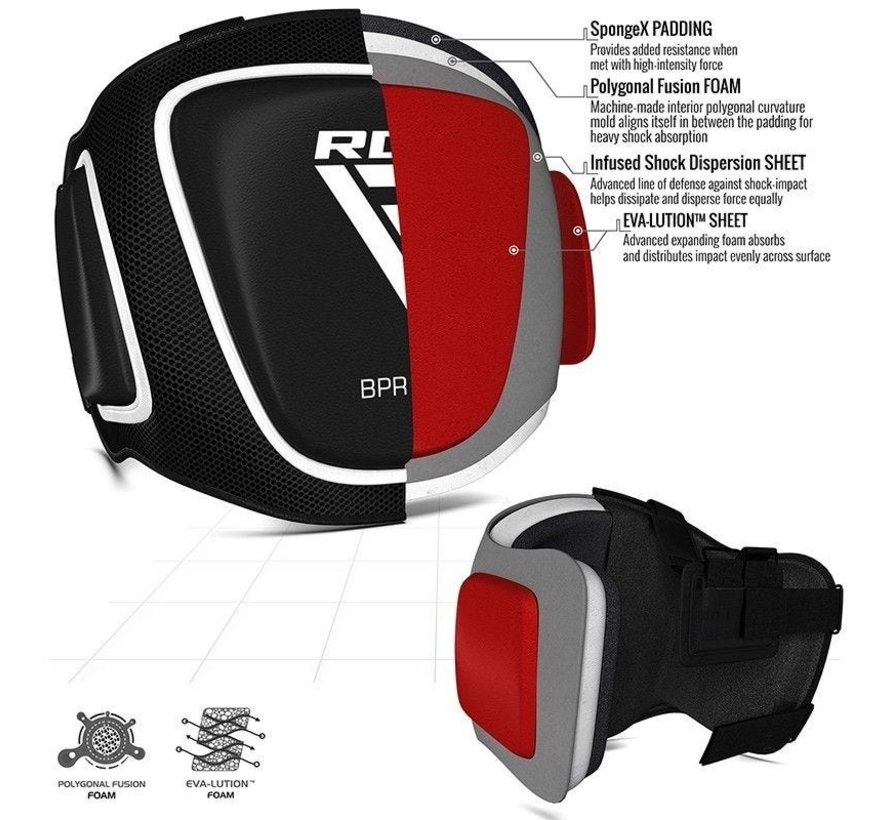 RDX Sports Chest Guard Belly T2 Black with patented Maya Hide