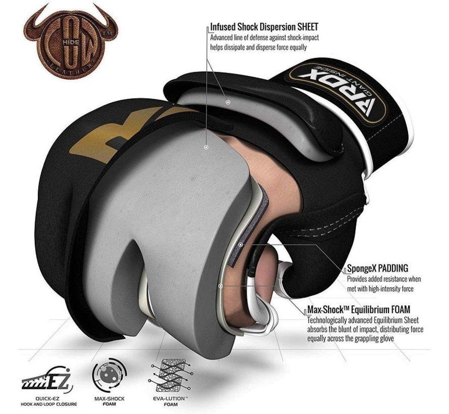 RDX T2 Leather MMA Handschoenen - Goud / Zwart - Leer