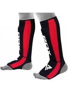 RDX Sports T6 Scheenbeschermers - Zwart/Rood