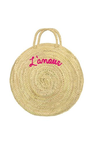 My Jewellery Round Straw Bag Roze